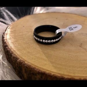 Black Ring with Crystals Size 9